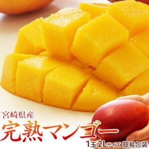 宮崎県産 完熟マンゴー 2Lサイズ 1玉(350〜449g) 常温 簡易包装 ※送料無料