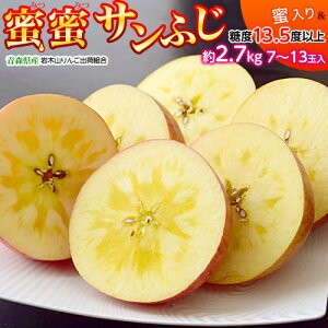 糖度13.5度以上『蜜蜜サンふじ』青森県産 岩木山りんご生産出荷組合 約2.7kg(目安として7〜13玉)送料無料 ※常温