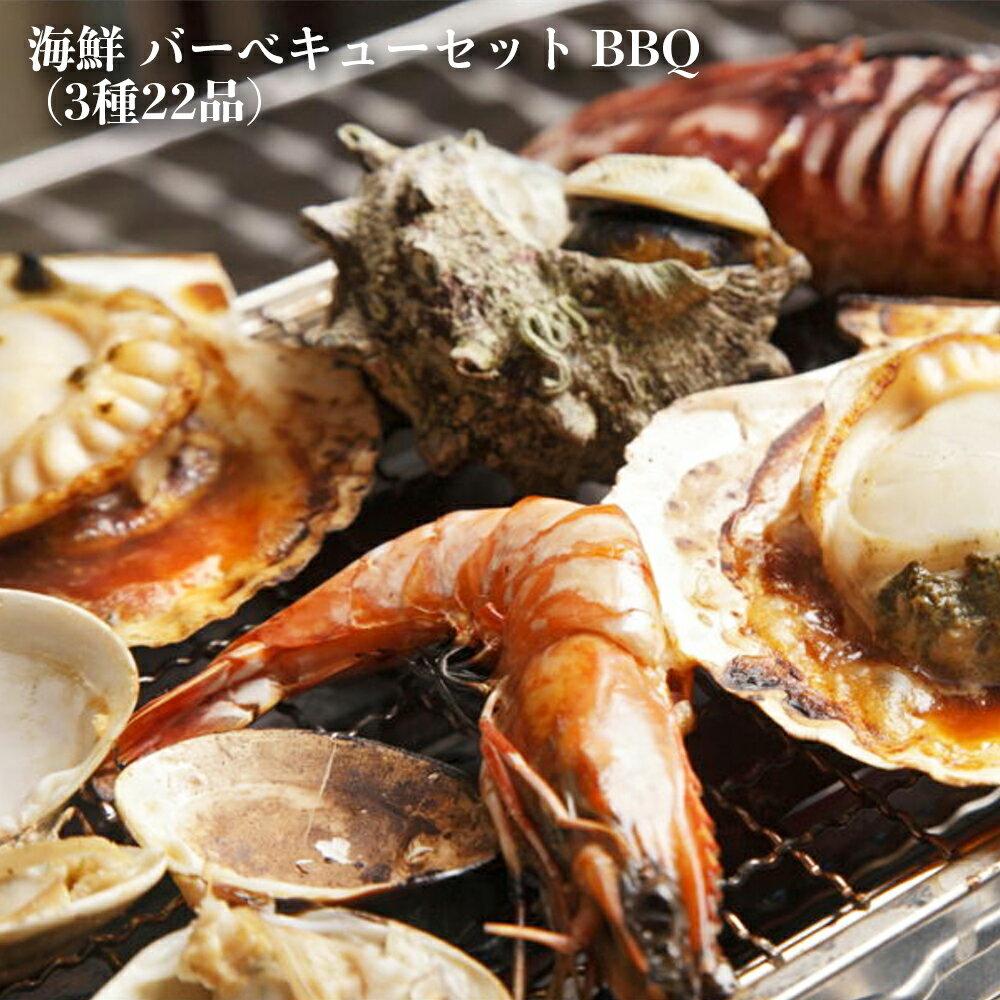 海鮮 バーベキューセット BBQ(3種22品)赤海老10尾/ホタテ10枚/イカ一夜干2枚(5〜7人前)