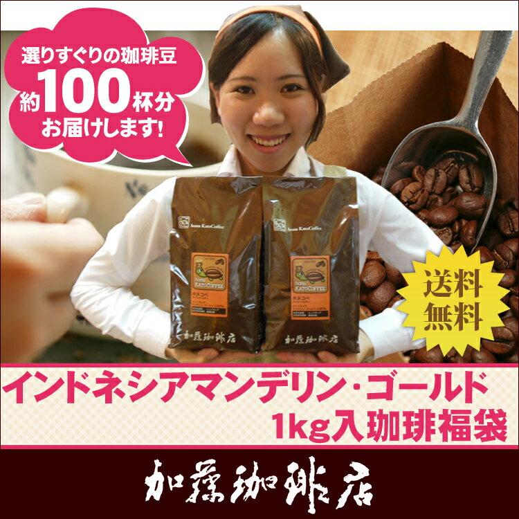 [1kg]インドネシアマンデリン・ゴールド珈琲福袋(Hマンデ×2)/珈琲豆