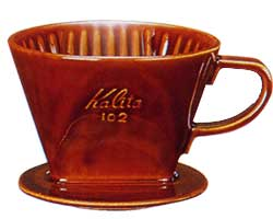 102-ロトブラウン陶器製ドリッパー/カリタ(Kalita)/グルメコーヒー豆専門加藤珈琲店