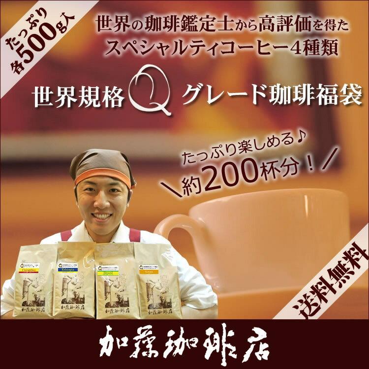 コーヒー豆 コーヒー 2kg 福袋 世界規格Qグレード珈琲福袋(お菓子・Qグァテ・Qウガ・Qブラ・Qエチオピア 各500g) 珈琲豆 加藤珈琲