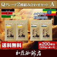 Qグレード2種組み合わせセットA(Qグァテ×2・Qコス×2)/珈琲豆