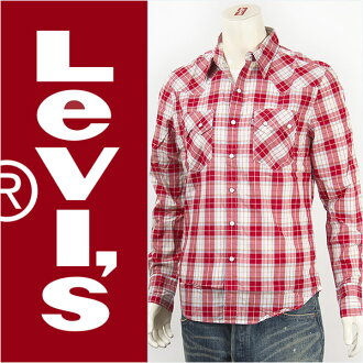 65,819-0019 Levis Levi's so toes western shirt cotton poplin crimson red check Levi's Red Tab Shirt long sleeves