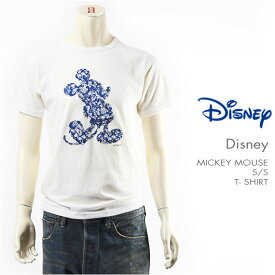 【国内正規品】Disney ディズニー ミッキーマウス 半袖 Tシャツ トロピカルプリント シルエットパッチ Disney S/S MICKEY MOUSE T-SHIRT PATCHED GU721068R-001【メール便対応可】