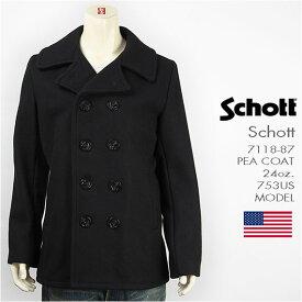 【国内正規品・米国製・送料無料】Schott ショット ピーコート メルトンウール ネイビー SCHOTT 753US MODEL PEA COAT 24oz. 7118-87 ジャケット【smtb-tk】