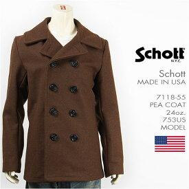 【国内正規品・米国製】Schott ショット ピーコート メルトンウール SCHOTT 753US MODEL PEA COAT 24oz. 7118-55 【ミリタリージャケット・送料無料】