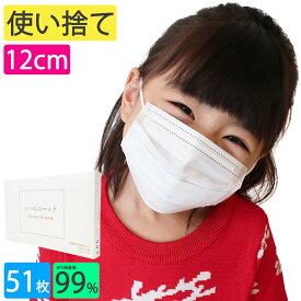 12cm 園児 サイズ 子供 マスク 不織布 子供用マスク 使い捨て プレミアム品質 BFE99% 51枚 子供 こども 幼児 【 送料無料 】 子どもマスク 子供ますく 夏 いつものマスク