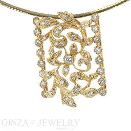 K18黄色黄金項鏈鑽石0.60ct植物動機41cm[新貨完成已經][pa][中古的珠寶][人氣][中古][郵費免費]
