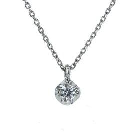 4℃ ヨンドシー Pt850 プラチナ ネックレス ダイヤモンド 一粒石 シンプル 華奢 40cm【新品仕上済】【el】【中古】【送料無料】