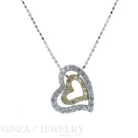 K14WG ホワイトゴールド イエローゴールド ネックレス ダイヤモンド 0.44ct オープン ハート デザイン 39.5cm【新品仕上済】【pa】【中古】【送料無料】