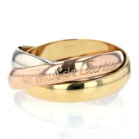 Cartier カルティエ K18YG WG PG スリーカラー リング トリニティ 3連 ロゴ ストレート 甲丸 指輪 8号【新品仕上済】【af】【中古】【送料無料】