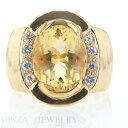 K18YG イエローゴールド リング シトリン ホワイトサファイア 幅広 指輪 16号 大粒 メンズ レディース【新品仕上済】…