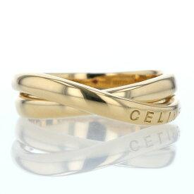 CELINE セリーヌ K18 イエローゴールド リング インサイドストーン ルビー 0.02ct クロス ロゴ デザイン 13号 指輪【新品仕上済】【af】【中古】