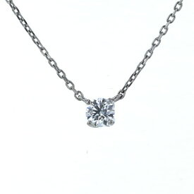 ヨンドシー 4℃ Pt850 プラチナ ネックレス 一粒 ダイヤモンド 0.108ct シンプル 両引き 43cm【新品仕上済】【el】【中古】【送料無料】