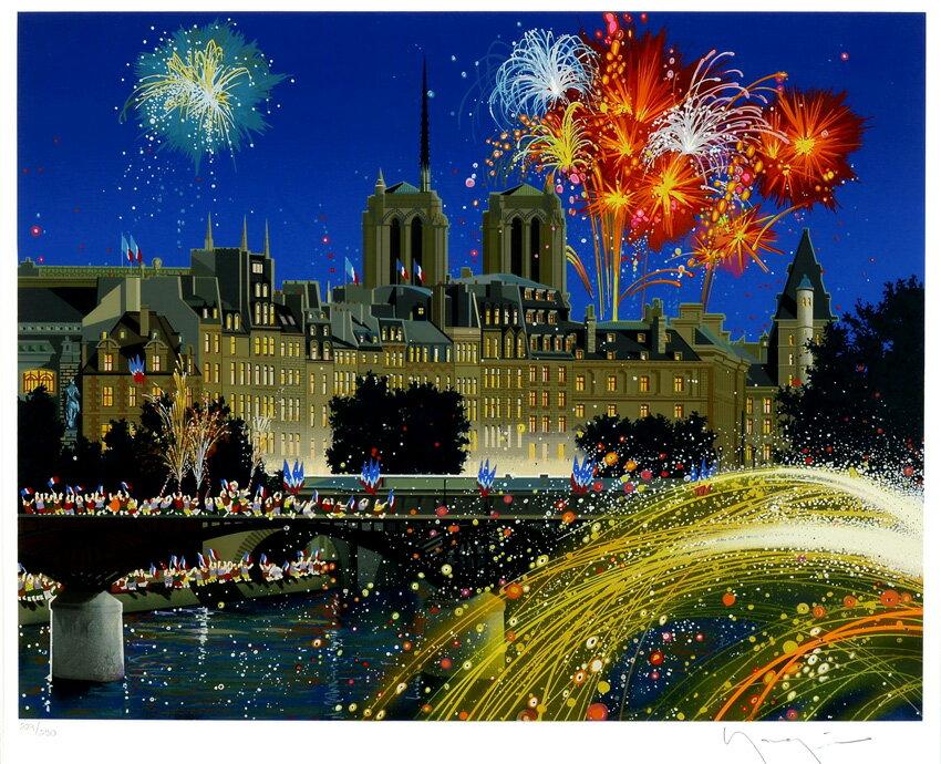 ヒロ・ヤマガタ(山形博導)「パリ祭」 現状フレーム赤札市場 額付版画作品