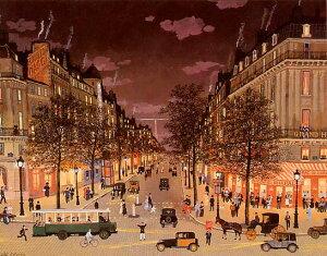 ミッシェル・ドラクロア「夜のグランブールバール」-Les Grands Boulevards la nuit-直筆サイン入り限定版画 シルクスクリーン選べる新品額付 国内 送料無料