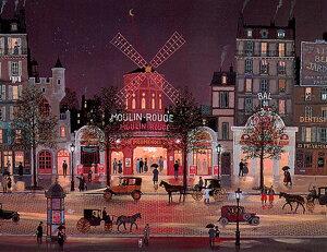 ミッシェル・ドラクロア「雨のムーランルージュ」-Le Moulin Rouge sous la Pluie-額付版画作品(シルクスクリーンオンキャンバス)