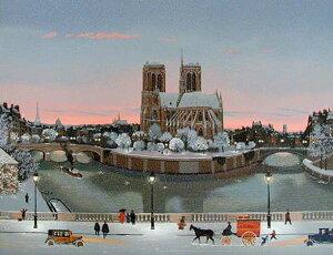 ミッシェル・ドラクロア「冬のノートルダム」-Le Chevet de Notre-Dame en hiver(The Apse of Notre-Dame in Winter)-額付版画作品(シルクスクリーンオンキャンバス)