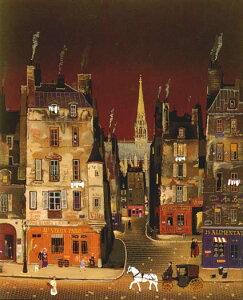 ミッシェル・ドラクロア「Saint Chapel at Night」直筆サイン入り限定版画 シルクスクリーン選べる新品額付 国内 送料無料