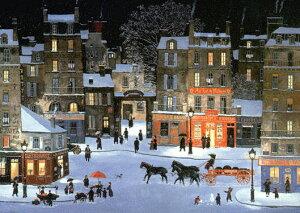 ミッシェル・ドラクロア「Soir de neige, Rue des Rosiers」Snowy night, Rue des Rosiers直筆サイン入り限定版画 シルクスクリーン選べる新品額付 国内 送料無料