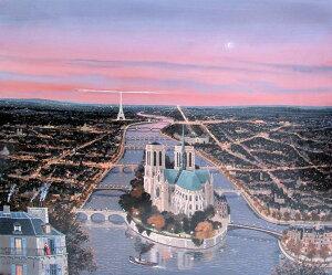 ミッシェル・ドラクロア「Le coeur de Paris au ciel rose」額付版画作品(シルクスクリーンオンキャンバス)
