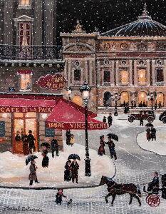 ミッシェル・ドラクロア 最新作「Soir de neige place de l'Opera」Snowy Evening at the Opera 額付版画作品 シルクスクリーン