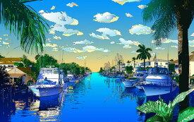 鈴木英人「我が心のマイアミ」-MIAMI MOOD- 2001年 EMグラフ 額付版画作品 国内送料無料