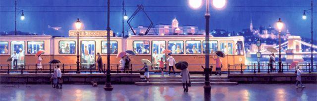 笹倉鉄平 「河沿いのトラム」-A Riverside Stop of Tram-2010年 キャンバス・ジグレー 額付版画作品