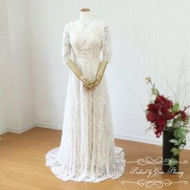ウェディングドレス Vネック ロングトレーン 二次会 花嫁 ウエディングドレス 七分袖 レース 花嫁ドレス WeddingDress 5号7号9号11号 gcd_7021