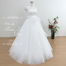 【即納】ウェディングドレス 二次会 白 ドットが可愛いAライン プリンセスライン ホルターネック ウエストリボン ロングドレス 花嫁ドレス ウエディングドレス WeddingDress 7号9号11号 gcd_8820