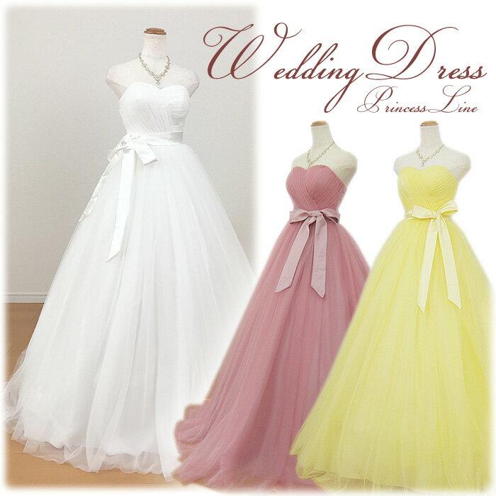 【あす楽OK12時】選べる3色 ウェディングドレス カラー 花嫁 二次会 花嫁ドレス ハートカットロングドレス カシュクールタイプ サッシュリボン付き WeddingDress 5号7号9号11号13号 gcd_8861_long