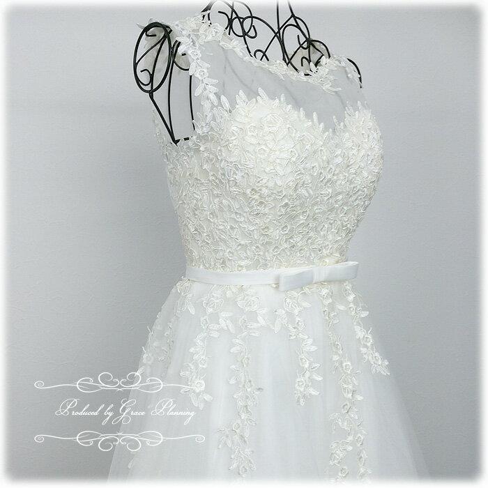 【あす楽OK12時】ウェディングドレス クラシカルなバトーネック ノースリーブのウェディングドレス 二次会 花嫁ドレス gcd8873 WeddingDress 7号9号11号