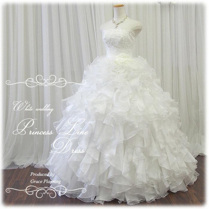 ウェディングドレス 刺繍とふわふわフリルが華やかなプリンセスラインドレス gcd8874 WeddingDress 5号7号9号11号13号 結婚式や二次会 花嫁ドレス 海外挙式にお勧めします