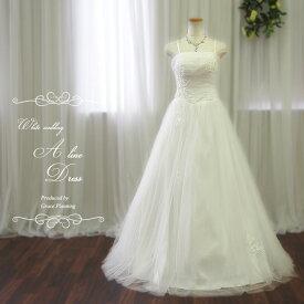 576ac1f1d3ceb 肩ひもつきで安心 ウェディングドレス 二次会 白 Aラインドレス gcd8882 結婚式 花嫁
