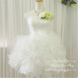 07bf5fd85a560 ウェディングドレス 二次会 白 ミニ ひざ丈 ふわふわフリルのミニドレス gcd8892 5号7
