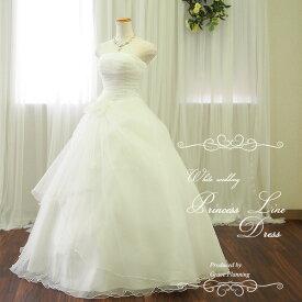 ウェディングドレス 二次会 白 流れるドレープが美しいプリンセスラインドレス 5号7号9号11号13号 結婚式 花嫁ドレス ウエディングドレス 海外挙式にお勧めします gcd8897