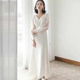 【再再入荷】ウェディングドレス 長袖 フォト婚 二次会 白 袖付きのスレンダードレス ウエディングドレス 花嫁ドレス 5号7号9号11号13号15号 gcd_7003