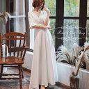 【即納】ウェディングドレス ワンピース 二次会 白 結婚式 ウエディングドレス 花嫁ドレス 半袖 海外挙式 フォトウェ…