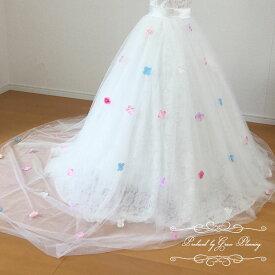 ウェディングドレス のアレンジ用 巻きスカート オーバースカート (オフホワイト) ウエディングドレス トレーン 簡単お手軽お色直し ribbon_2224