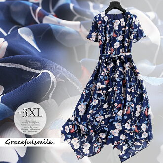 Dress invite dress Lady's navy dark blue floral design chiffon dress resort dress class reunion class visit childcare visit knee-length big size 60 generations wedding ceremony LL 3L 3XL adult of superior grade /[cag41] in 30s in 40s in 50s
