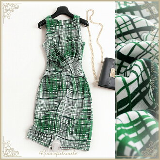 Dress invite dress Lady's green tight slender line geometry class reunion class visit childcare visit knee-length big size 30s 40s 50 generations 60 generations wedding ceremony LL 3L 3XL adult of superior grade /[cag42]