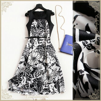 Dress invite dress Lady's black and white monotone floral design chiffon dress class reunion class visit childcare visit knee-length big size 30s 40s 50s 60 generations wedding ceremony LL 3L 3XL adult of superior grade / party dress others and fashion [