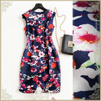 Size LL 3XL 3L/ party dress and others which a dress floral design lady's tight slender line knee length invite class reunion class visit childcare visit adult refined wedding ceremony party has a big and fashion [cag55] not to be covered with