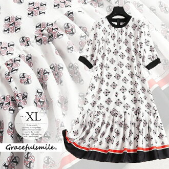 One-piece dress wedding ceremony dress invite party dress big size Lady's きれいめ mother ホワイトブラックレッドコンサバ A-line whole pattern short sleeves half-length sleeves knee length class visit individual adult woman outing spring second party second meeting /[ccm64]