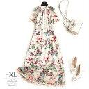ドレス ワンピース ゴージャス ボウタイ襟 リボン 花柄 総柄 シアー素材 刺繍 レース 透け感 五分袖 ロング丈 珍しい …