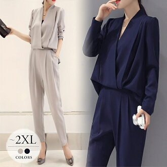 It is clothes /[eae10] for 50 generations for 40 generations for 30 generations for pantdress trouser suit two points set setup V neck figure cover looking thinner big size mom mother graduation ceremony graduation ceremony entrance ceremony entering a k