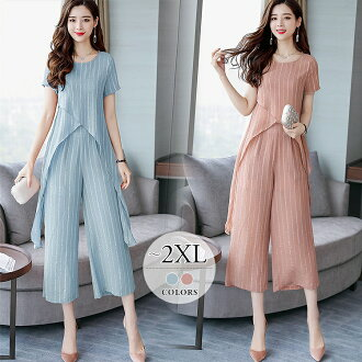 Feeling of pantdress suit set long dress long dress resort Lady's big size wedding ceremony party mother summer きれいめ pink blue underwear short-sleeved asymmetric seven minutes length Shin pull plain fabric cleanliness neatness of superior grade pastel co
