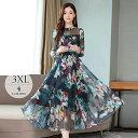ロングドレス ワンピース ロング 大きいサイズ レディース 花柄 シースルー エアリー 華やか ブルー レッド ブラック …