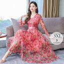 母の日 ロングドレス ワンピース ロング 大きいサイズ レディース 花柄 蝶々 エアリー ピンク イエロー グリーン 結婚…
